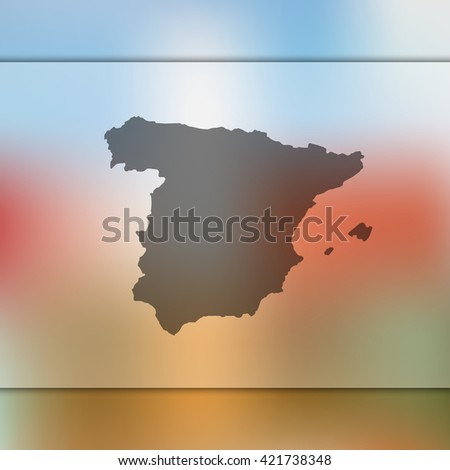 Spain map on blurred background. Blurred background with silhouette of Spain. Spain. Spain map. Blurred background. Silhouette of Spain. Spain vector map. Spain flag. Blur background. Vector map. - stock vector