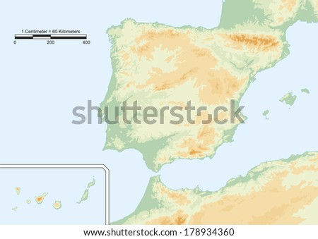 Spain map. Physical map of Spain with scale. Elements of this image furnished by NASA - stock vector