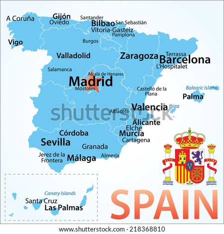 Spain . map with largest cities, carefully scaled text by city population, geographically correct. - stock vector