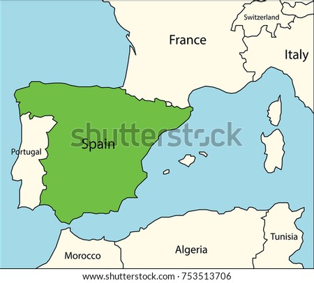 spain map with neighboring countries