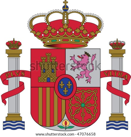 Spain national emblem -  crown and shield - stock vector