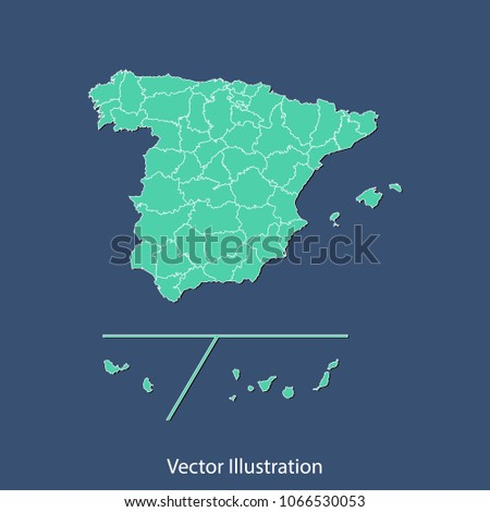 Spain Provinces Map High Detailed Color Stock Vector 1066530053