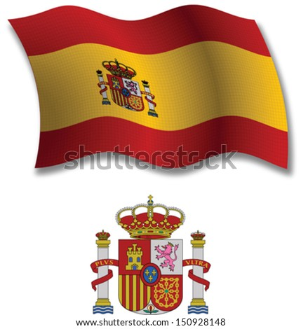 spain shadowed textured wavy flag and coat of arms against white background, vector art illustration, image contains transparency transparency - stock vector