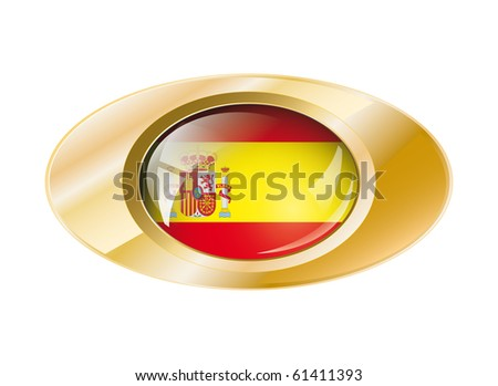 Spain shiny button flag vector illustration. Isolated abstract object on metal background. - stock vector
