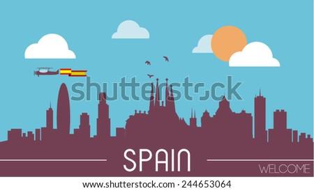 Spain skyline silhouette flat design vector illustration - stock vector