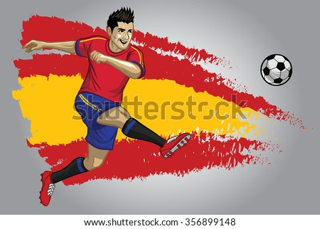 Spain soccer player with flag as a background - stock vector