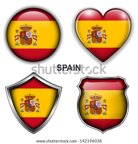 Spain, spanish flag icons, vector buttons.  - stock vector