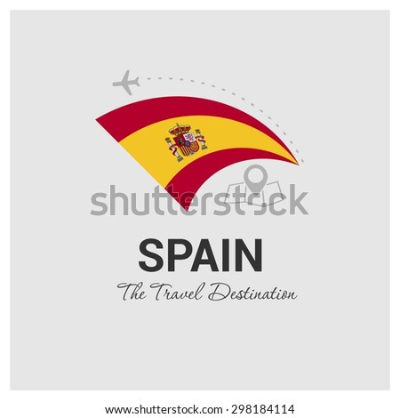 Spain The Travel Destination logo - Vector travel company logo design - Country Flag Travel and Tourism concept t shirt graphics - vector illustration - stock vector