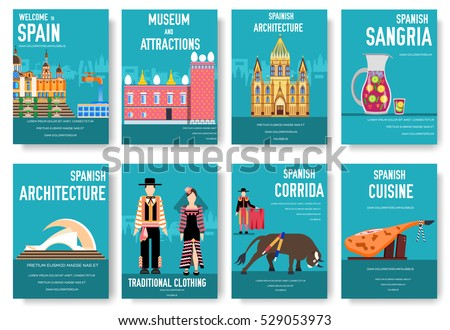 Spain Vector Brochure Cards Set Country Stock Vector Hd Royalty