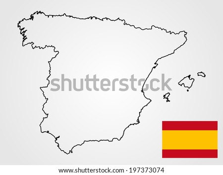 Spain vector map and vector flag high detailed, isolated on white background.silhouette illustration.  - stock vector