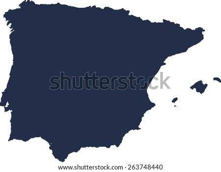 Spain Vector map. High detailed.  - stock vector