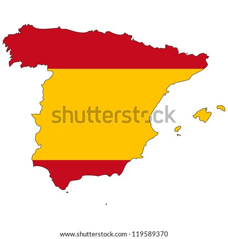 Spain vector map with the flag inside.