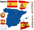 Spain vector set. Detailed country shape with region borders, flags and icons isolated on white background. - stock photo