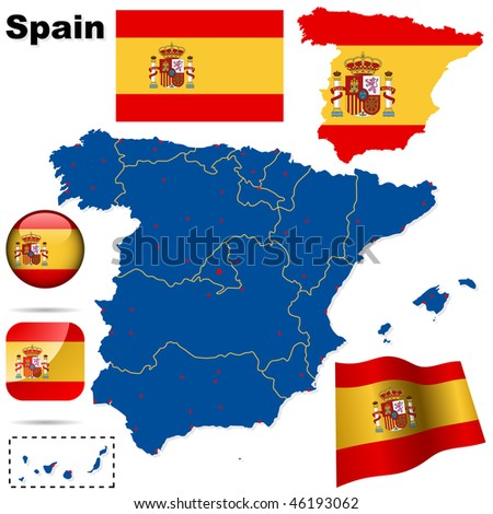 Spain vector set. Detailed country shape with region borders, flags and icons isolated on white background. - stock vector