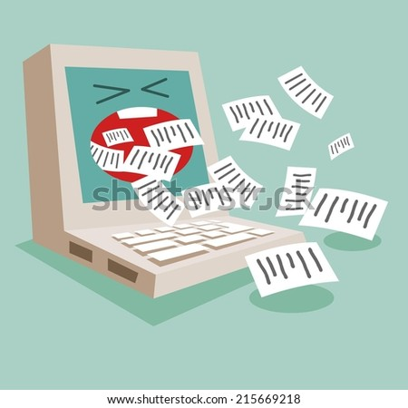 Spam email and internet activity. Flat vector illustration - stock vector