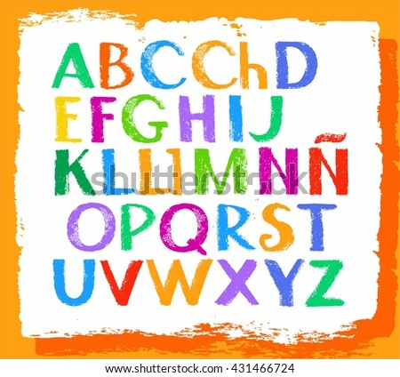Spanish alphabet, capital letter, colored crayons. Simulated texture. Font, vector.