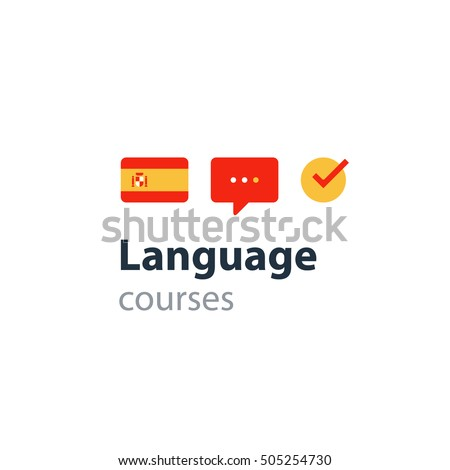 ... Advertising concept lingual classes. Flat design vector illustration