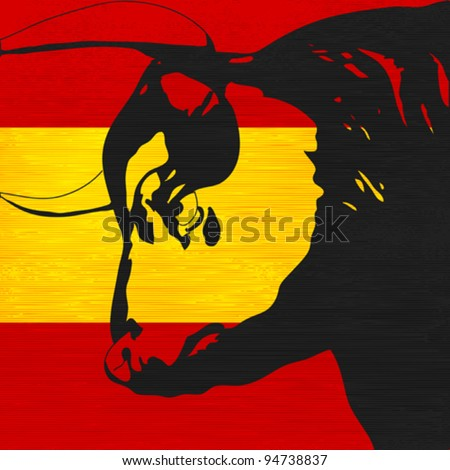 Spanish Bull, Black bovine head over the flag of Spain - stock vector