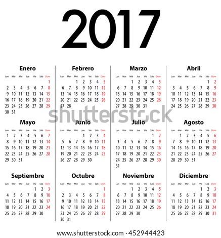 Spanish Calendar for 2017. Mondays first. Calendar grid for print, web  design,