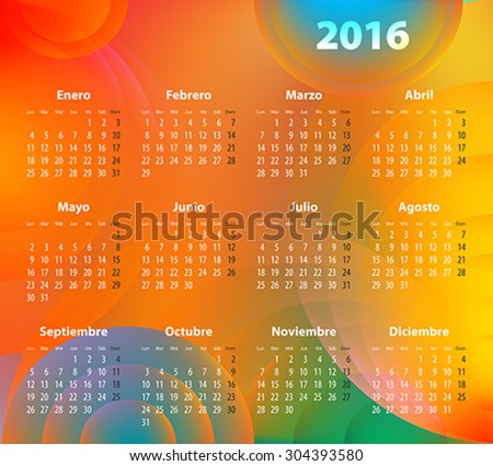 Spanish Calendar for 2016 on abstract circles background. Mondays first. Vector illustration - stock vector