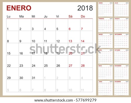 Spanish Calendar Template Year 2018 Set Stock Vector 577699279 ...