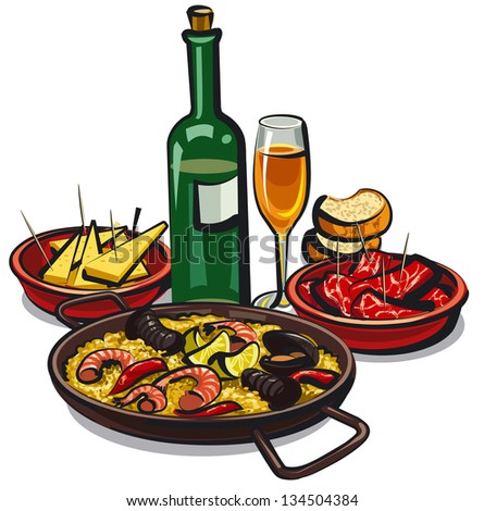 spanish cuisine, paella with appetizers and wine - stock vector