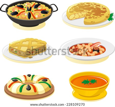 spanish dishes vector icon set. - stock vector
