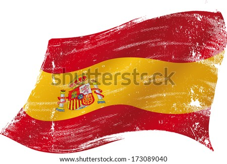 Spanish flag grunge. Spanish flag with a texture in the win - stock vector