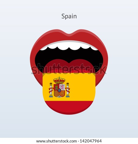 Spanish language. Abstract human mouth. Vector illustration. - stock vector