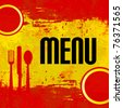 Spanish Menu Vector template over flag of Spain - stock photo
