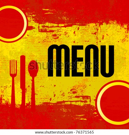 Spanish Menu Vector template over flag of Spain - stock vector