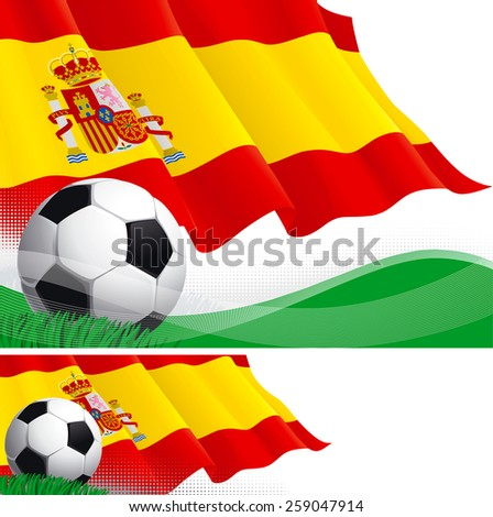 Spanish soccer. Vector background and banner of soccer ball and Spanish flag on green grass.