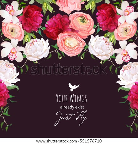 Spanish style semicircle garland frame arranged from burgundy red and white peony, peachy ranunculus, rose, orchid. Floral vector design card with dark background.