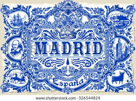 Spanish Tile Madrid Ceramic Tilework Azulejos Spain. Pattern Colorful Painted Tin Glazed Ceramic Tilework Vintage Illustration web page template background Vector Pattern Image.Indigo Blue Tiles Floor - stock vector