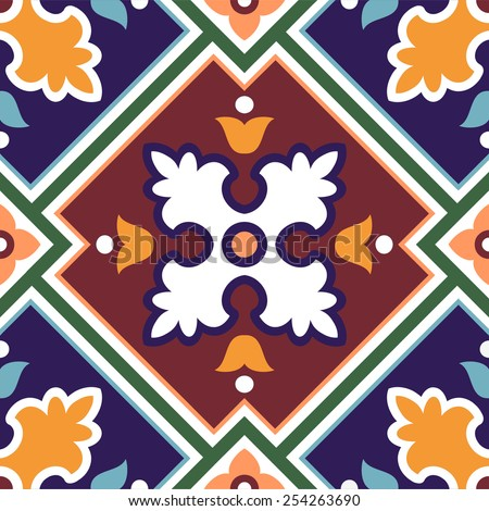 Spanish traditional ornament, Mediterranean seamless pattern, tile design, vector illustration - stock vector