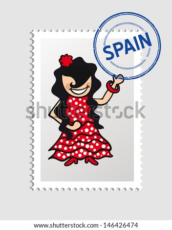 Spanish woman cartoon with Spain postal stamp. Vector illustration layered for easy editing. - stock vector