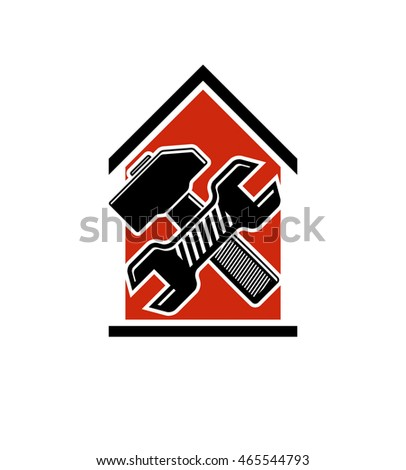 Spanner and mallet crossed, industrial utensil, building construction. Simple vector house with work tools, workshop. Home reconstruction idea, for use in web design.