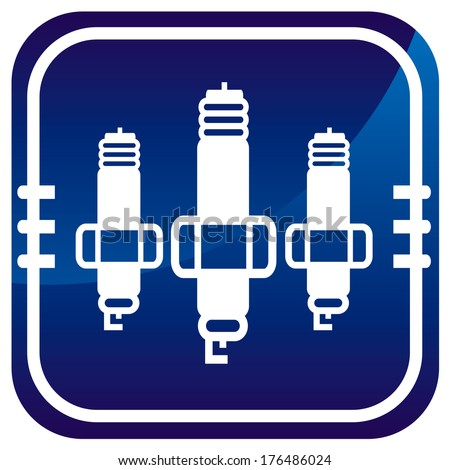 Spark plug. Blue pointer - stock vector