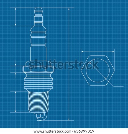 Spark plug technical drawing on blueprint stock vector hd royalty technical drawing on blueprint paper vector illustration malvernweather Image collections