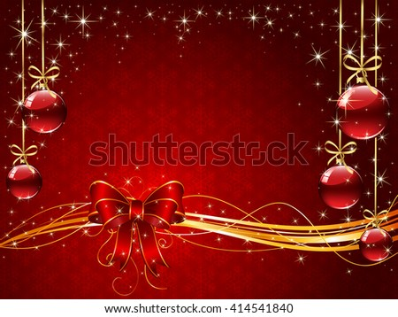 Sparkle background with snowflakes, red bow, Christmas balls and stars, illustration. - stock vector