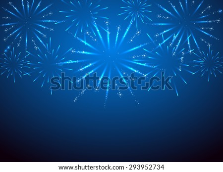 Sparkle fireworks on the blue background, illustration. - stock vector