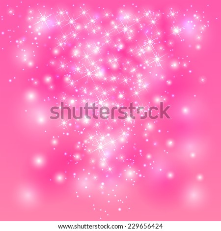 Sparkle pink background with shine stars and blurry lights, illustration. - stock vector