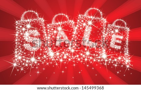 Sparkle shopping bags and sale text isolated on red background - stock vector