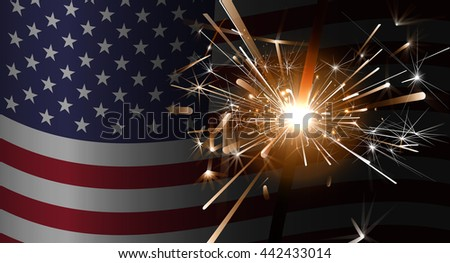 Sparklers on a background of the American flag.