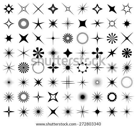 Sparkles and starbursts symbols. Vector illustration. - stock vector