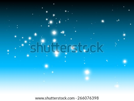 Sparkles falling on blue abstract background vector template - Vector glitters in space blue background illustration - stock vector