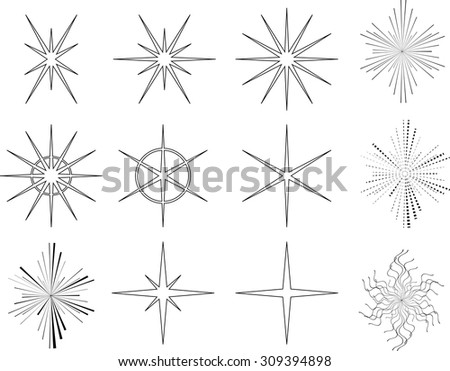 Sparkles . Vector Star Icon Logos Collection . Star Shapes for your Design . Hipster Star  Line and Light Ray Symbols . - stock vector