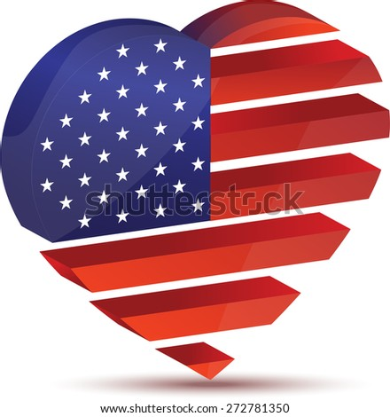 sparkling American flag in the form of heart - stock vector