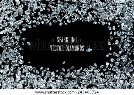 sparkling diamonds on black background vector collection - stock vector