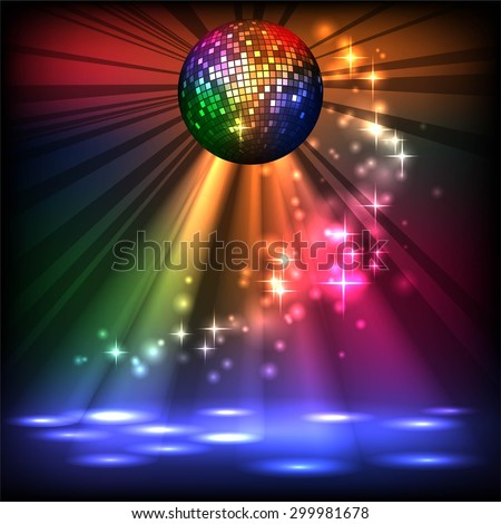 sparkling disco ball. Night party - stock vector